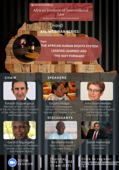 Moderation of a webinar to celebrate the 40th anniversary of the African Human Rights System, Thursday 22 July 2021.